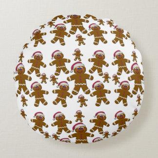 Gingerbread Santas Round Pillow