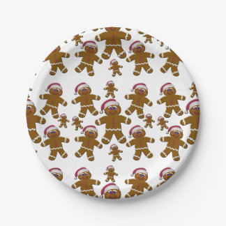 Gingerbread Santas 7 Inch Paper Plate