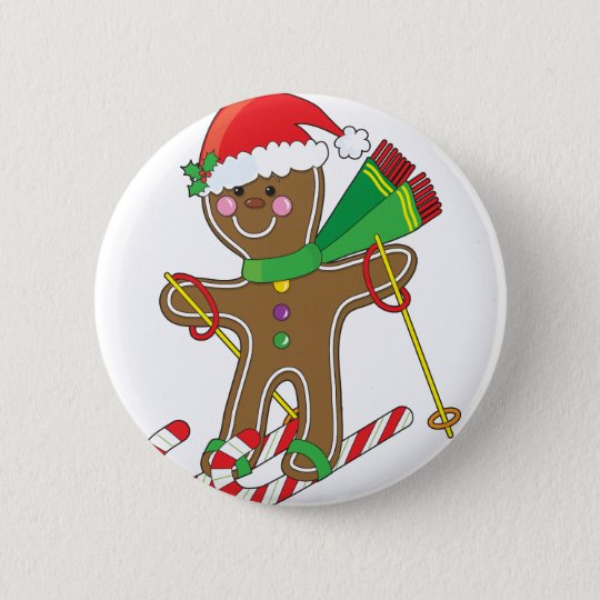 Gingerbread Skier Pinback Button
