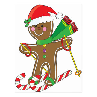 Gingerbread Skier Post Cards