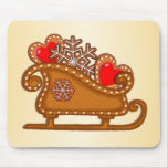 GINGERBREAD SLEIGH & HEARTS by SHARON SHARPE Mouse Pad