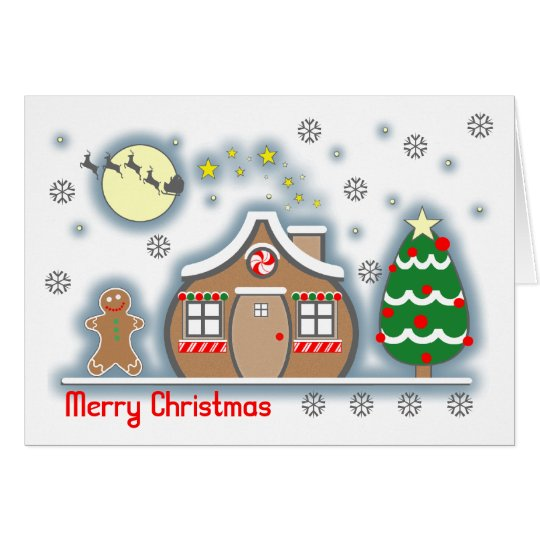 Gingerbread Snow Scene Christmas Card