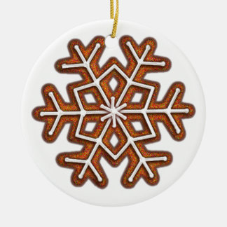 GINGERBREAD SNOWFLAKE by SHARON SHARPE Double-Sided Ceramic Round Christmas Ornament