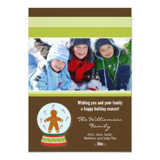 Gingerbread Snowglobe Custom Family Holiday Card