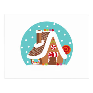 Gingerbread Snowglobe Postcard