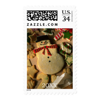 Gingerbread snowman with Christmas cookies Postage