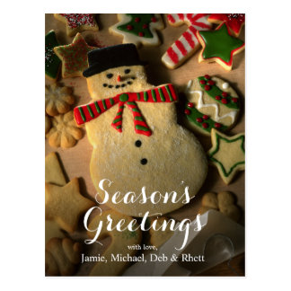 Gingerbread snowman with Christmas cookies Postcard