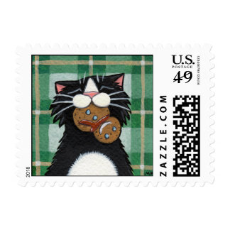 Gingerbread Snowman - Xmas Cat Postage