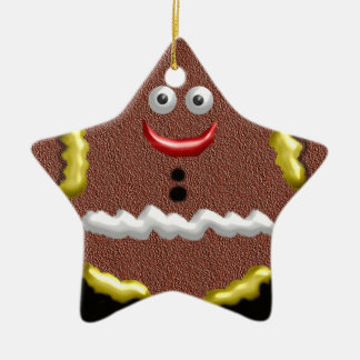 gingerbread star ceramic ornament