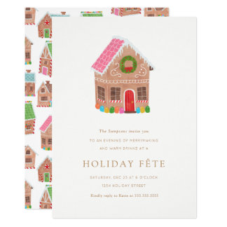 Gingerbread Street Holiday Party Invitations
