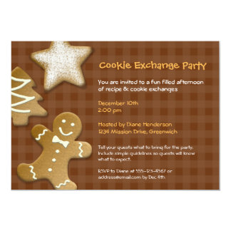 Gingerbread sugar cookie exchange swap brown party 5x7 paper invitation card