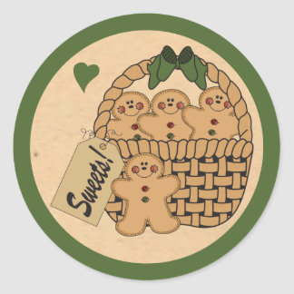 Gingerbread Sweet Basket Classic Round Sticker