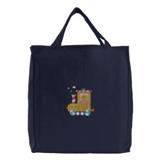 Gingerbread Train Embroidered Tote Bag