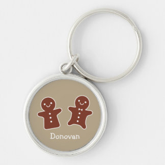 Gingerbread Treats Silver-Colored Round Keychain