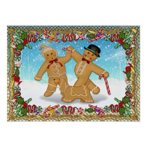 Gingerbread Trio with Border Poster