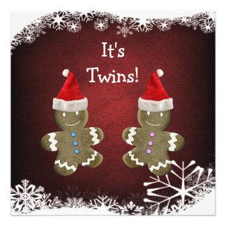 Gingerbread Twins Christmas Baby Shower Custom Invite