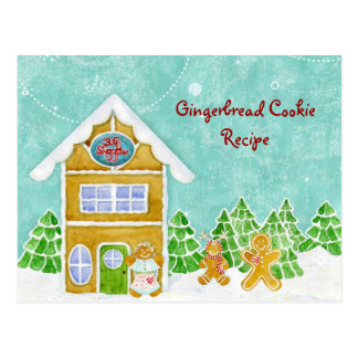 Gingerbread Village Bake Shoppe Recipe Postcard