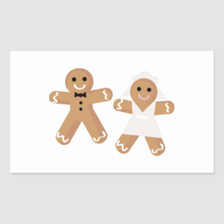 Gingerbread Wedding Rectangle Stickers