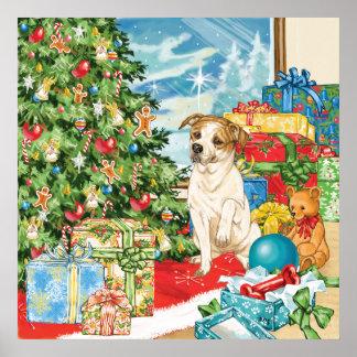 Gingerbread Wishes American Bulldog Christmas Art Print