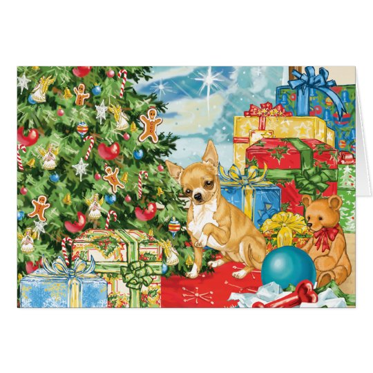 Gingerbread Wishes Chihuahua Christmas Art Card