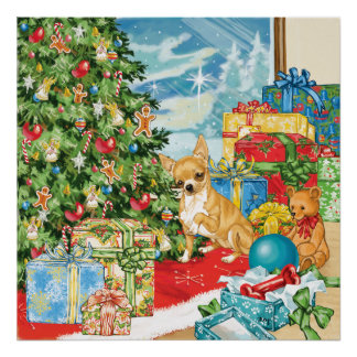 Gingerbread Wishes Chihuahua Christmas Art Posters