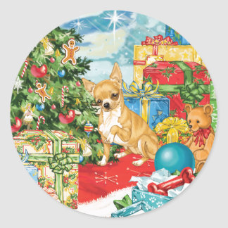 Gingerbread Wishes Chihuahua Christmas Art Classic Round Sticker