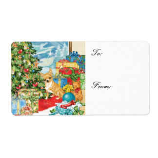 Gingerbread Wishes Chihuahua Christmas Gift Tags Label