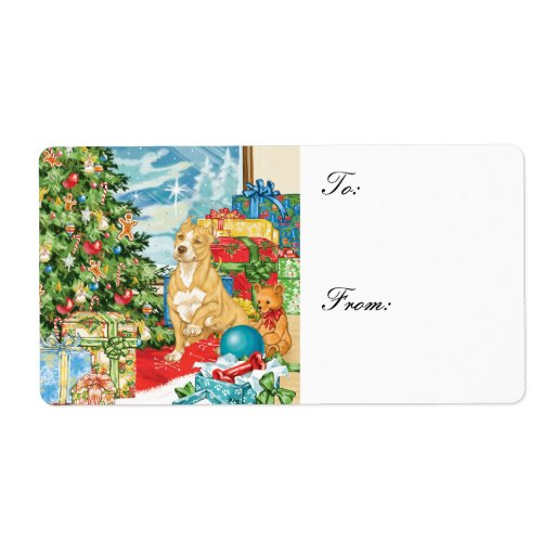 Gingerbread Wishes Pit Bull Christmas Gift Tags Custom Shipping Label