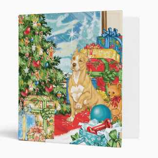Gingerbread Wishes Pit Bull Terrier Christmas Art 3 Ring Binder