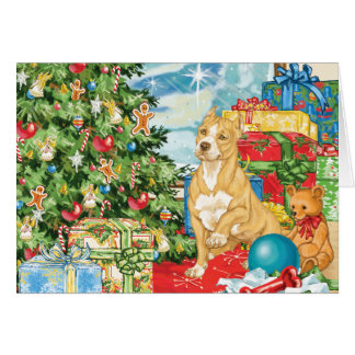 Gingerbread Wishes Pit Bull Terrier Christmas Art Card
