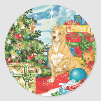 Gingerbread Wishes Pit Bull Terrier Christmas Art Classic Round Sticker