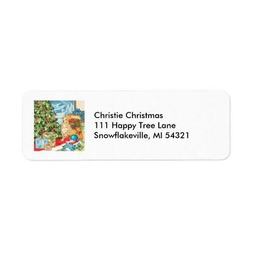 Gingerbread Wishes Pit Bull Terrier Christmas Art Custom Return Address Label