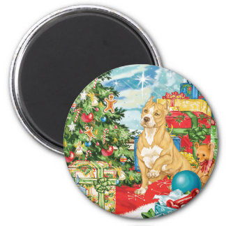 Gingerbread Wishes Pit Bull Terrier Christmas Art Magnets
