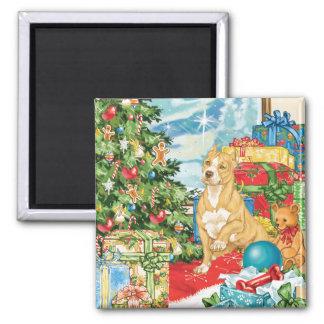 Gingerbread Wishes Pit Bull Terrier Christmas Art Fridge Magnet