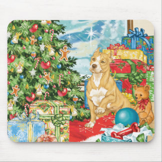 Gingerbread Wishes Pit Bull Terrier Christmas Art Mouse Pads