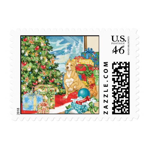 Gingerbread Wishes Pit Bull Terrier Christmas Art Stamps