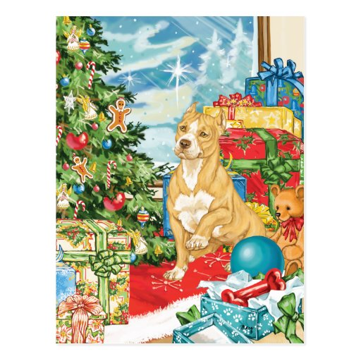 Gingerbread Wishes Pit Bull Terrier Christmas Art Post Card