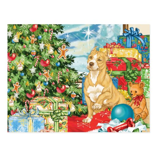 Gingerbread Wishes Pit Bull Terrier Christmas Art Postcard