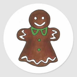 Gingerbread Woman Lady Christmas Cookie Stickers