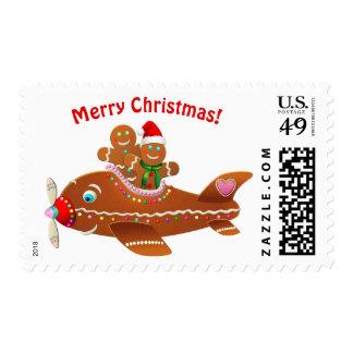 Gingerbread Xmas Airplane Cartoon Postage