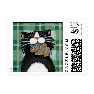 Gingerbread Xmas Tree - Whimsical Cat Postage