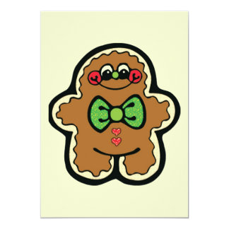 gingerbreadman 001PR CUTE COOKIES WINTER FOODS TRE Personalized Invitation