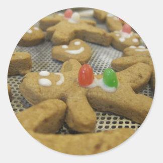 gingerbreadmen pegatinas redondas