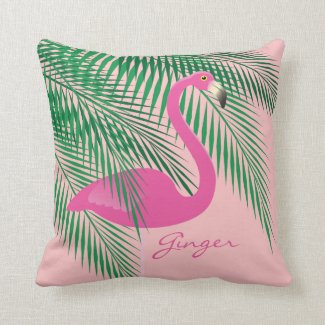 Ginger's Coral Flamingo Pillow