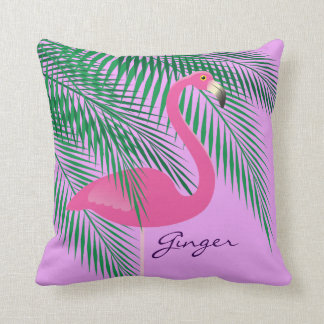 Ginger's Pink and Purple Flamingo Pillow