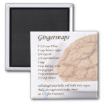 Gingersnaps Recipe 2 Inch Square Magnet