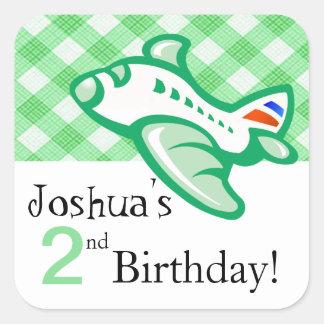 Gingham Airplane Birthday Party Favor | green Sticker