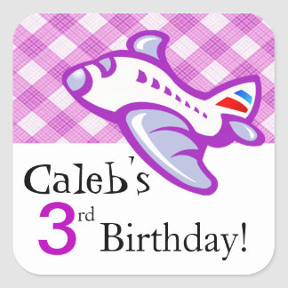 Gingham Airplane Birthday Party Favor | lilac Stickers