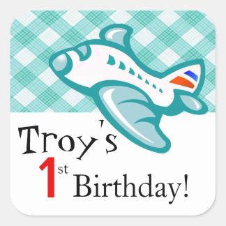 Gingham Airplane Birthday Party Favor | mint aqua Square Sticker