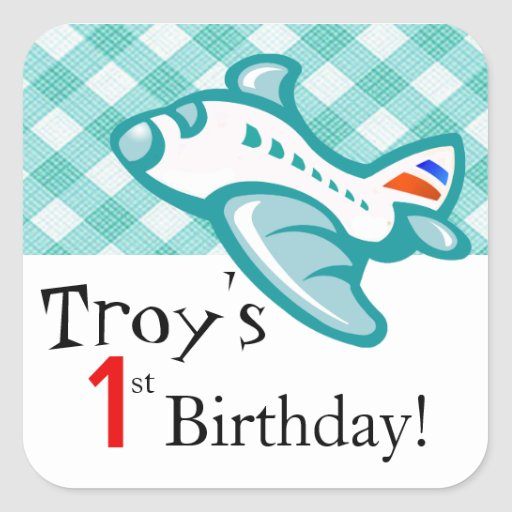 Gingham Airplane Birthday Party Favor | mint aqua Square Stickers